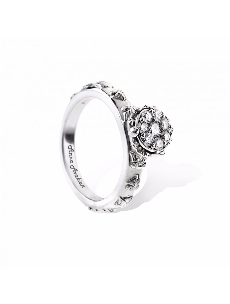 Anna Avakian white gold engagement ring with diamonds