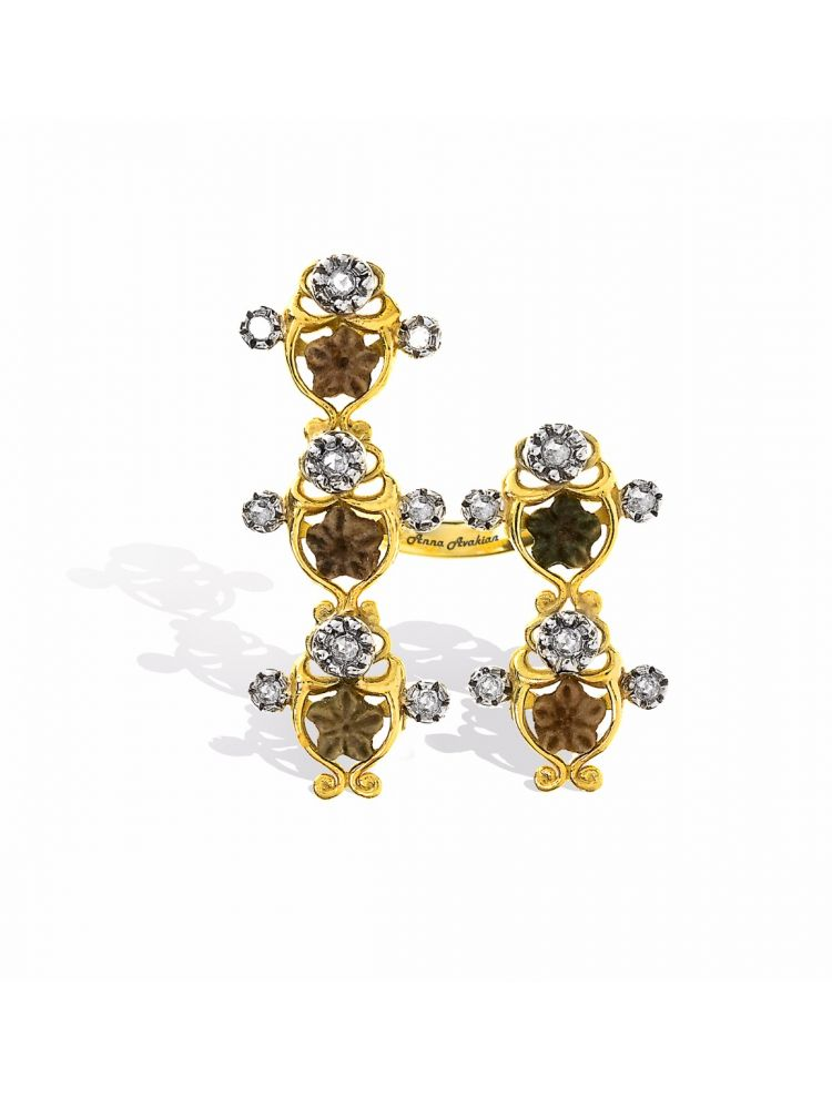 Anna Avakian star stones and diamonds ring