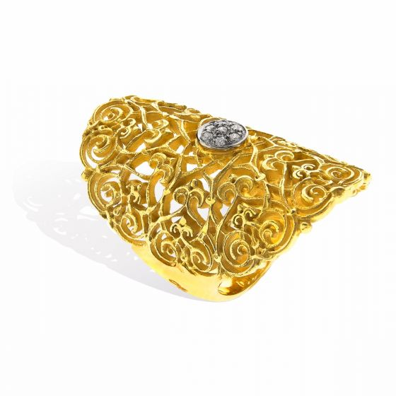 Anna Avakian gold ring with diamonds