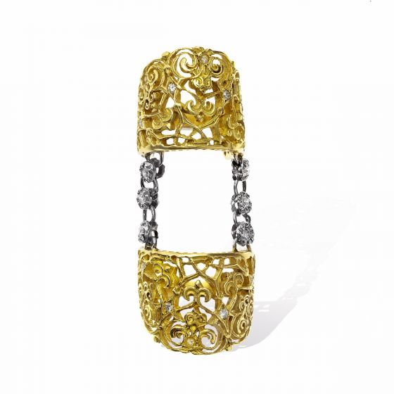 Anna Avakian yellow gold double ring with diamonds