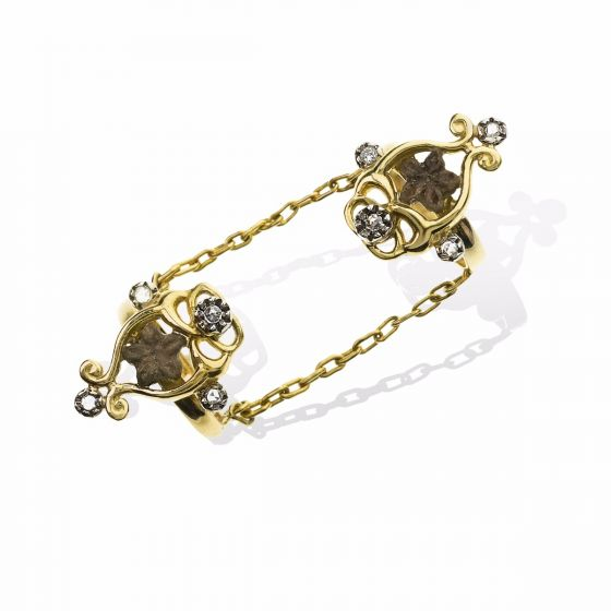 Anna Avakian double ring with diamonds and star stones