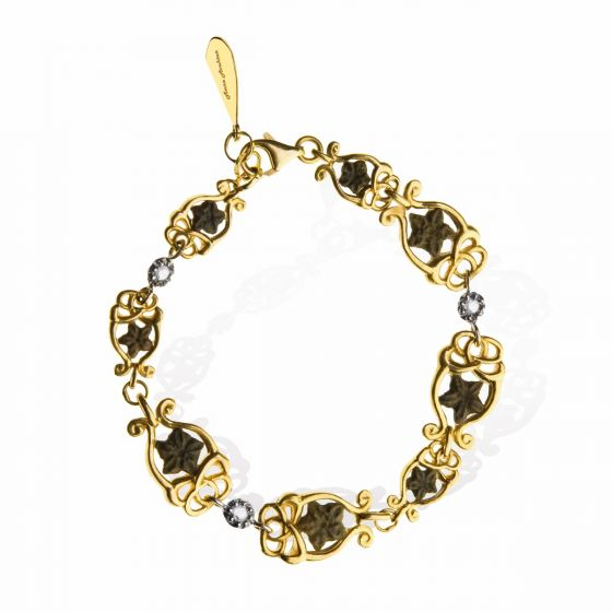 Anna Avakian yellow gold bracelet with diamonds and star stones