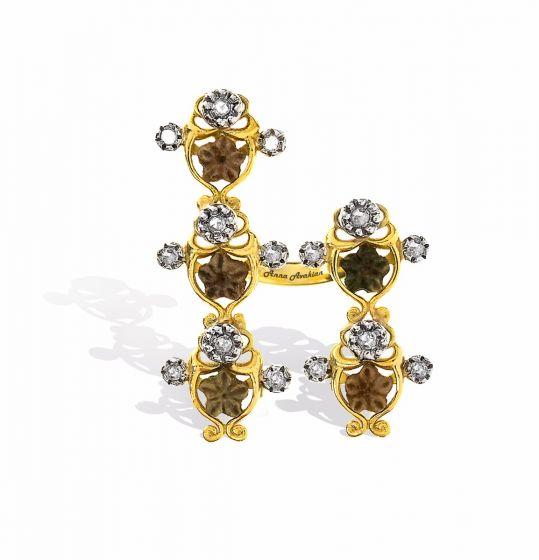 Anna Avakian star stones and diamonds ring